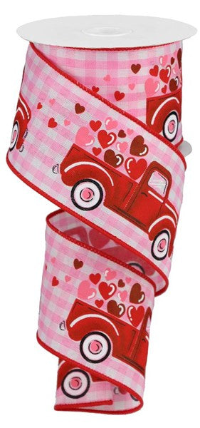 "2.5""X10yd Truck w/Hearts On Gingham Check, Light Pink/White/Red/Pink ***ARRIVING FEB 7TH***"