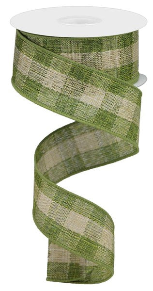 "1.5""X10yd Woven Royal Burlap Check, Moss Green/Beige"