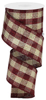 "2.5""X10yd Woven Royal Burlap Check, Multi Burgundy/Beige S37"
