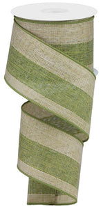 "2.5""X10yd Woven Royal Burlap/Stripe, Moss Green/Brown/Cream S43"