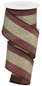 "2.5""X10yd Woven Royal Burlap w/Stripe, Burgundy/Brown/Cream S60 ***ARRIVING NOV. 2021***"