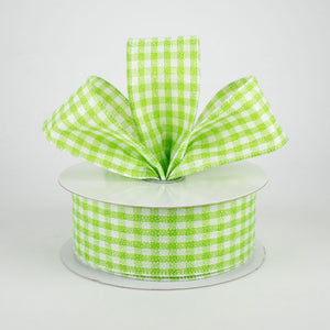 "1.5""X10yd Glitter On Woven Gingham Check, Lime Green/White ***ARRIVING MAY 2021***"