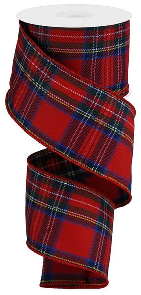 "2.5""X10yd Plaid On Royal, Red/Blue/Navy/Green/White/Yellow O3"
