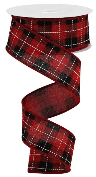 "1.5""X10yd Printed Woven Check On Royal, Red/Black/White S12"