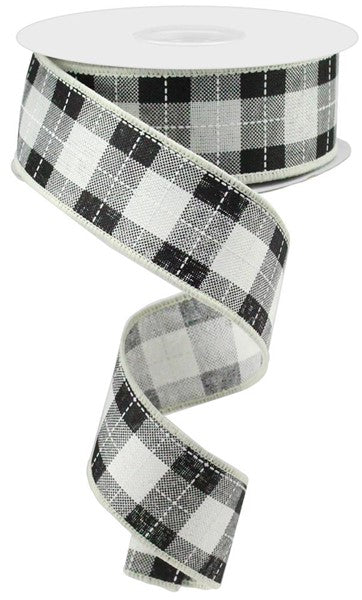"1.5""X10yd Printed Woven Check On Royal, Ivory/Black/White"