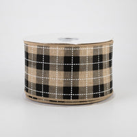 "2.5""X10yd Printed Woven Check On Royal, Light Beige/Black/White"