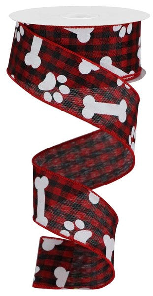"1.5""X10YD Paw Prints w/Bones On Check, Red/Black/White  F22"