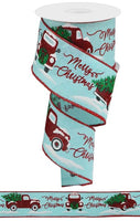 "2.5""X10yd Merry Christmas w/Truck On Royal, Ice Blue/Red/Green/Black S13"
