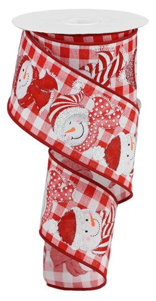 "2.5""X10yd Snowman On Check, Red/White/Silver Glitter S6"