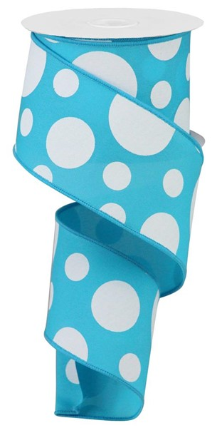 "2.5""x10YD Giant Three Size Dots On Fabric, Turquoise/White"