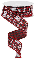 "1.5""X10yd Ho Ho Ho On Gingham, Red/Black/White FS39"