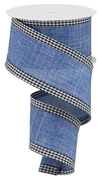 "2.5""X100' Royal Burlap Gingham Edge, Blue Denim/Black/White O79"