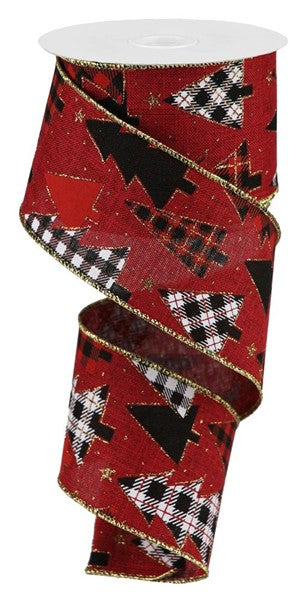 "2.5""X10yd Plaid Trees On Royal, Burgundy/Red/Gold/Black/White  ***OUT FOR THE SEASON***"