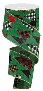 "2.5""X10yd Plaid Trees On Royal, Emerald/Red/Gold/Black/White ***OUT FOR THE SEASON***"