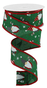 "1.5""X10yd Christmas Gnomes On Royal, Emerald/Red/White FRG38"