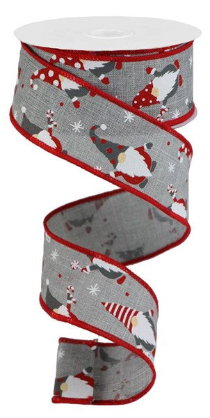"1.5""X10yd Christmas Gnomes On Royal, Light Grey/Red/White O43 O51"
