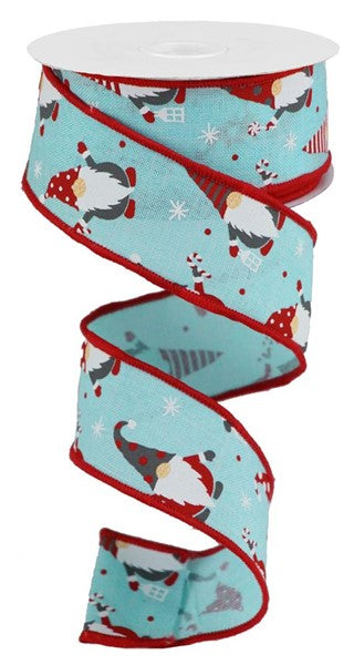 "1.5""X10yd Christmas Gnomes On Royal, Ice Blue/Red/White"