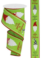 "2.5""X10yd Christmas Gnomes On Royal, Lime/Red/White O46"