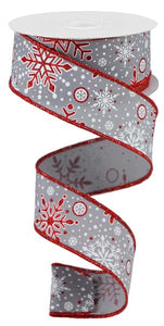 "1.5""X10yd Snowflakes, Grey/White/Red Glitter S2 ***OUT FOR THE SEASON***"
