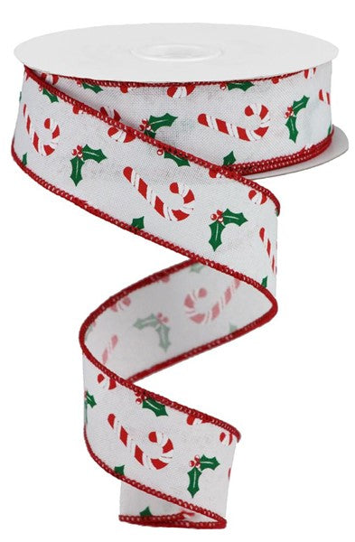 "1.5""X10yd Candy Canes/Holly On Royal, White/Red/Emerald Green O11"
