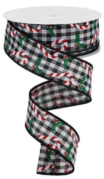 "1.5""X10yd Candy Canes/Holly On Gingham, Black/White/Red/Emerald Green S0"