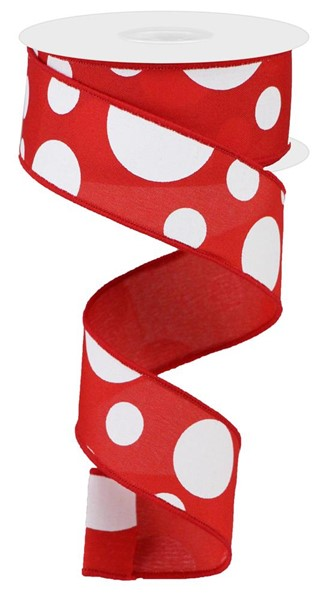 "1.5""x10YD Giant Three Size Dots, Red/White S18 O63"