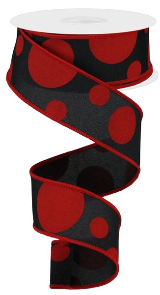 "1.5""x10YD Giant Three Size Dots, Black/Red ***ARRIVING MAY 2021***"