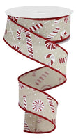 "1.5""X10yd Candy Cane/Peppermint On Royal, Light Natural/Red/White S53"