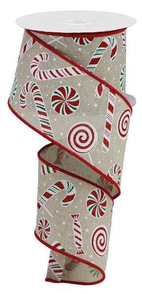 "2.5""X10yd Candy Cane/Peppermint On Royal, Light Natural/Red/Green/White S34"