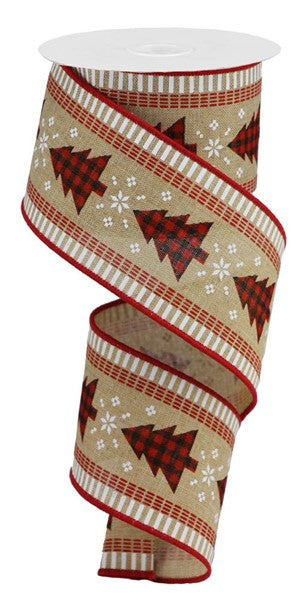 "2.5""X10yd Christmas Tree On Check w/Stripes, Brown/Beige/Red/Black ***OUT FOR THE SEASON***"