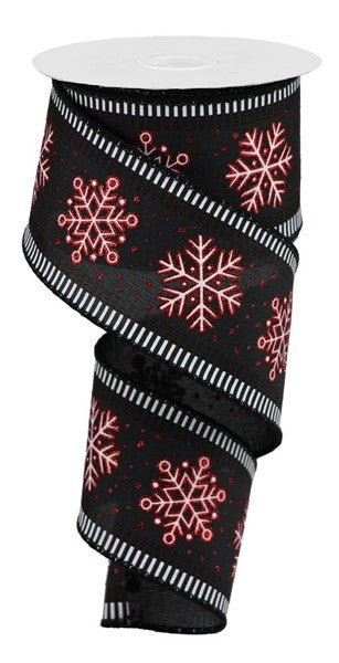 "2.5""x10yd Snowflakes w/Stripes, Black/White/Red Glitter ***OUT FOR THE SEASON***"