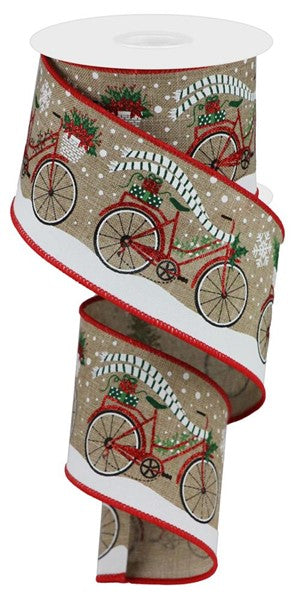 "2.5""X10yd Christmas Bicycle On Royal, Light Beige/Red/White/Green/Black RR"