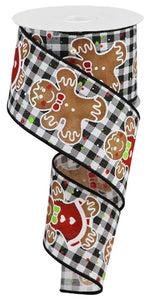 "2.5""X10yd Gingerbread Gingham On Royal, Black/White/Brown"