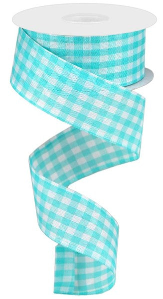 "1.5""X10yd Gingham Check, Turquoise/White RR"