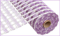 "10""X10yd Poly Burlap Check Mesh, Cream/Lavender - KRINGLE DESIGNS"