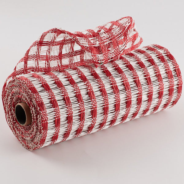 "10""X10yd Poly Burlap Check Mesh, Red/White"