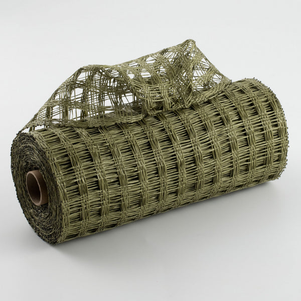 "10""X10yd Poly Burlap Check Mesh, Olive Green"