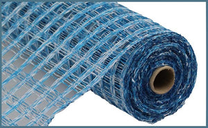 "10""X10yd Two Tone Poly Burlap Check Mesh, Blue/White"