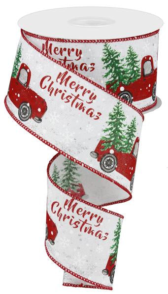 "2.5""X10yd ""Merry Christmas"" Truck With Tree On Royal, White/Red/Green/Silver - KRINGLE DESIGNS"