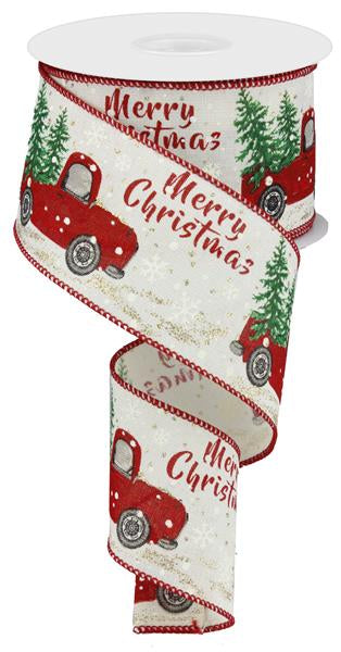 "2.5""X10yd ""Merry Christmas"" Truck With Tree On Royal, Ivory/Red/Green/Silver - KRINGLE DESIGNS"