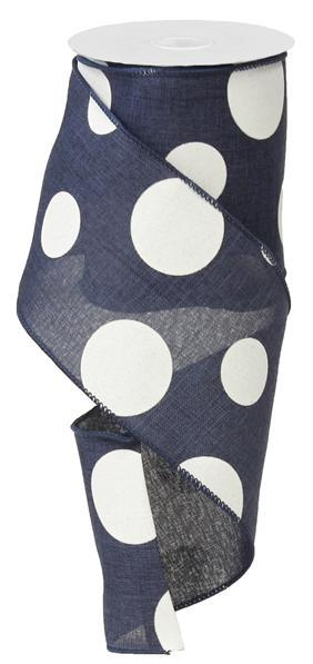 "4""x10YD Large Multi Dots, Navy Blue/White"