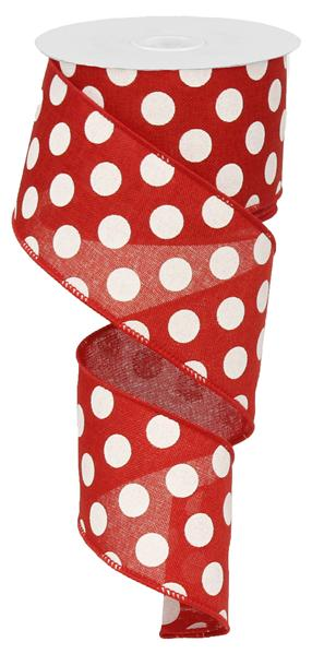 "2.5""x10YD Medium Multi Dots, Red/White ***ARRIVING JUNE 2021***"