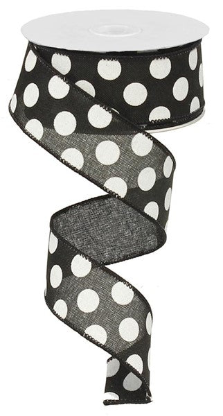 "1.5""x50yd Medium Multi Dots, Black/White O70"