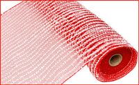 "10.5""X10yd Snowdrift/Poly Mesh, Red/White - KRINGLE DESIGNS"