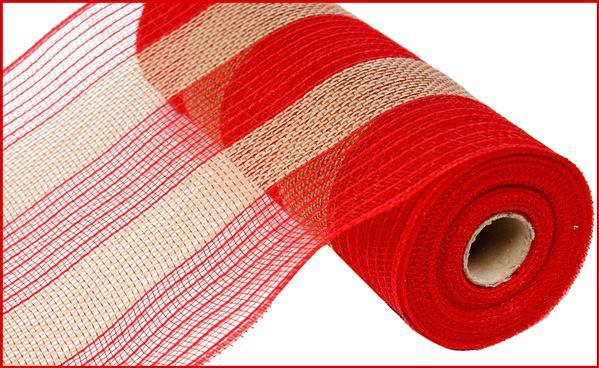 "10.5""X10yd Poly/Faux Jute Mesh Wide Stripe, Red/Natural - KRINGLE DESIGNS"