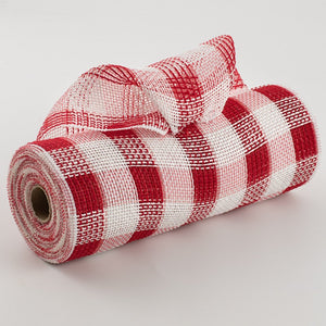 "10.5""X10yd Cotton/Faux Jute Check Mesh, Red/White  FA"