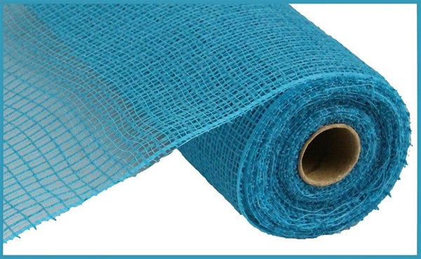 "10.5""x10yd Faux Jute Check Fabric Mesh, Turquoise  A"