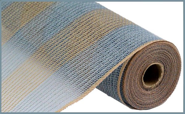 "10.5""X10yd Poly/Faux Jute/PP Wide Stripe, Grey/Natural"