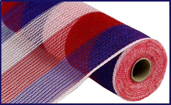 "10.5""X10yd Pp/Faux Jute Wide Stripe Mesh, Red/White/Blue ***ARRIVING SPRING 2021***"