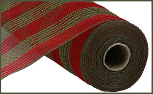 "10.5""X10yd Faux Jute/Poly Mesh Small Stripe, Red/Moss Green"